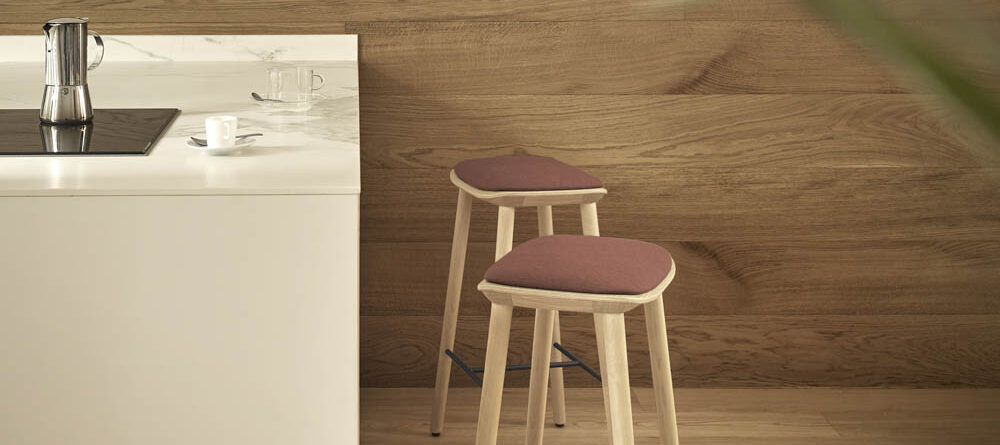 Treku Bisell Stools Natural Oak Leg And Base With Seat Pad In Fusion Crevin Red